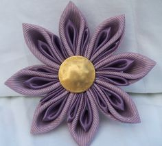 Orchid And Gold Metallic Grosgrain Ribbon And Plum Satin Ribbon Handmade Kanzashi Flower Brooch With Gold Matte Metal Button by broochingbaer on Etsy