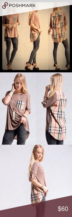 COMING SOON!! Plaid Contrast Back Tunic Plaid Contrast Back Tunic. Simply chic yet amazingly comfy!! 65% Cotton 32% Nylon 3% Spandex. Made in China. (Necklace is NOT included). Tops Tunics