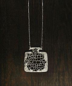 Vintage 70s MODERNIST Pendant Necklace - Big Mid Century Modern MINIMALIST Brutalist Jewelry - Large Organic GEOMETRIC Silver Square Pendant