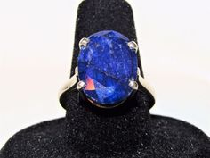 Estate > 6 ct Blue Natural Raw Faceted Sapphire 925 Sterling Silver Ring 7.5 #Solitaire
