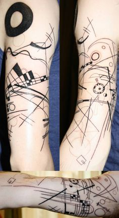 "That is Kandinsky's ""Composition VIII"" as a tattoo if I ever saw it. I LOVE IT. I NEVER thought of doing such a thing with one of my favorite pieces of art. Keegan Lam @ Newcombe's Ink, Halifax, NS"