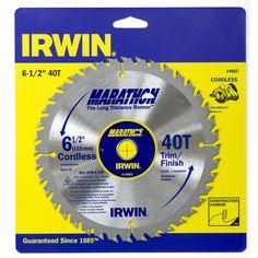 "Irwin Marathon 14023 6-1/2"" 40T Marathon Cordless Circular Saw Blade"