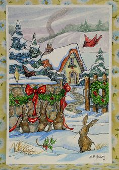 Alida Akers' Storybook Cottage Series - The Hanging of the Green Vintage Christmas Images, Christmas Pictures, Christmas Art, Christmas Animals, Xmas, Storybook Cottage, Cottage Art, Woodlands Cottage, Illustrations