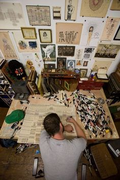 Creative space....LOOK at all those markers!!!! Just goes to show...he does not have a cat.
