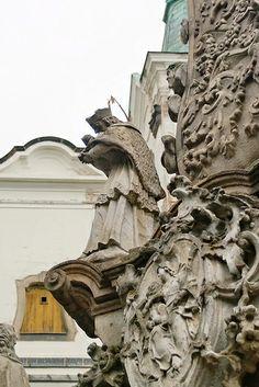 Column of Holy Trinity and Piarist Church tower. - Vác, Hungary