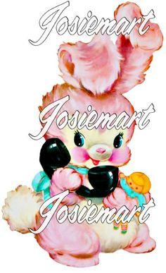 Vintage Pink, Etsy Vintage, Image Collage, Fluffy Bunny, Kawaii Shop, Collage Sheet, Fabric Art, Vintage Images, Paper Crafts