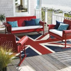 Retro Outdoor Furniture Collection.  As an anglophile, I must have the Union Jack Rug.