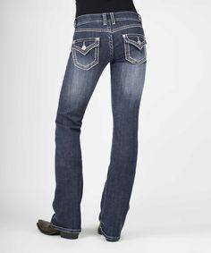 Blue Contrast-Stitch Flap-Pocket Bootcut Jeans - Plus Too