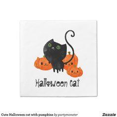 Cute Halloween cat with pumpkins