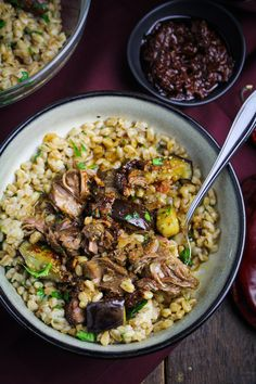 Tunisian Lamb-and-Eggplant Stew with Farro and Harissa {Katie at the Kitchen Door}