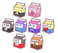 Set 1 - All characters, three different sizes Set 2 - All characters, small size flakes Set 3 - All characters,medium flake sizes Set 4 - All characters, small flake sizes Individual characters sets come with approx 9 flakes of three different sizes. Cartoon Stickers, Tumblr Stickers, Cute Stickers, Wallpaper Iphone Cute, Bts Wallpaper, Cute Wallpapers, Cute Kawaii Drawings, Bts Drawings, Bts Chibi