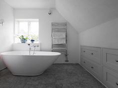 Bathrooms - Sola Kitchens | Sola Kitchens Scandinavian Bathroom, Classic Bathroom, Family Bathroom, Can Design, Clawfoot Bathtub, Your Space, Master Bedroom, Loft, Contemporary