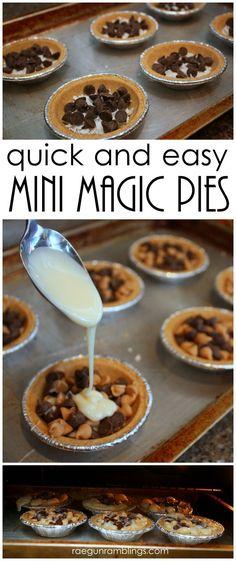 easiest tasty coconut magic dessert pies recipe. Magic Pie, Magic Cookie Bars, Cookie Pie, Magic Bars, Individual Desserts, Mini Pies, Sweet Recipes, Mini Pie Recipes, Tasty Recipes For Dessert
