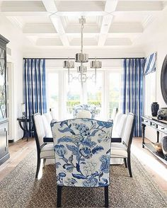 Best White Paint Colors For Home Staging - 2018 - Home with Keki Blue And White Living Room, Dining Room Blue, Dining Room Design, Blue And White Fabric, Colorful Dining Rooms, White Dining Rooms, Curtains For Dining Room, Blue Fabric, Navy Blue Dining Chairs