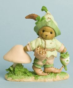 Gwynn the sweet Cherished Teddies Leprechaun carries his lucky sack of gold coins as he marches through the forest and mushroom patch. With a sculpted feather in his cap he says you are my lucky charm. Precious Moments, Lucky Charms Leprechaun, Enesco Figurines, Boyds Bears, Teddy Bears, Dinosaur Stuffed Animal, St Patrick, Gold Coins, Child