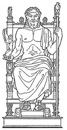 Line drawing of the Statue of Zeus at Olympia Body Drawing, Line Drawing, Germany For Kids, Zeus Statue, Social Studies Projects, Great Pyramid Of Giza, Blue Velvet Dining Chairs, Chair Drawing, Roman Mythology