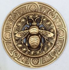 "EXTRA SUPER LARGE 3"" INCH Stamped Brass Vintage Inspired   ""BEE""  Picture Button"