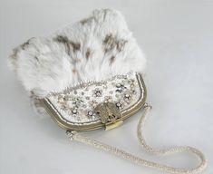 Unusual Handbag rabbit fur hand embroidered wedding handbag
