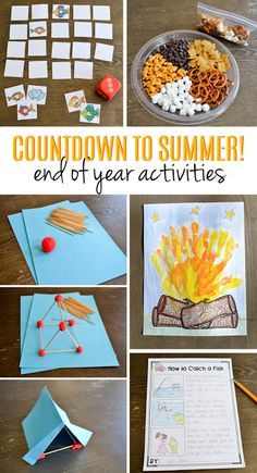 Countdown to Summer! End of Year Activities How many more days until summer? These fun countdown to summer activities for the end of the year will keep students engaged and learning until the last day Summer Camp Activities, End Of Year Activities, First Grade Activities, Kindergarten Activities, Classroom Activities, Preschool Activities, Indoor Activities, Camp Theme Classroom, Preschool Camping Activities