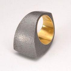 Claude Chavent, France   Ring 19kt Gold& Steel   Bague or et acier
