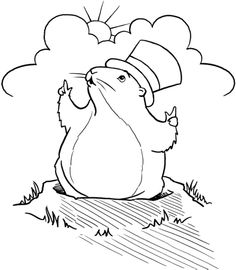 groundhog day wear large hats coloring pages - Groundhog Day Coloring Pages Kids