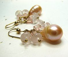 Blush pink pearl dangle earrings Rose quartz and by ShopPretties