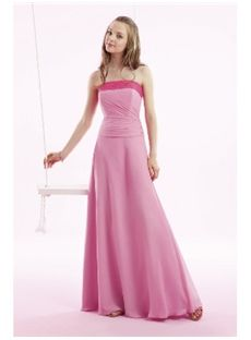 Charming A Line Strapless Floor Length Bridesmaid Dress