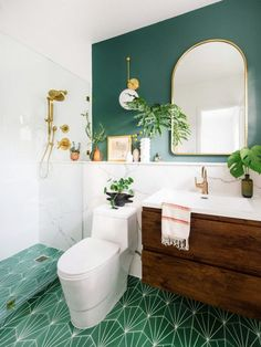 You Will Actually Die When You See This Small Bathroom Before & After Bathroom Decor You Will Actually Die When You See This Small Bathroom Before & After I'm in love with this bathroom makeover! So serene! See This Small Bathroom Before & After Bathroom Floor Tiles, Bathroom Colors, Bathroom Ideas, Bathroom Green, Mirror Bathroom, Room Tiles, Bathroom Cabinets, Bathroom Storage, Tile Grout