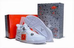 designer fashion 3a891 646ff Air Jordan IV Retro White White Chrome Jordan Sneakers, Cheap Jordan Shoes,  Nike Sneakers