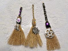 This lovely besom measures I used a little glitter graze to add a magical sparkle. A lovely addition to your altar. Wiccan Alter, Moon Fairy, Moon Goddess, Key To My Heart, Sun Moon, Alters, Witchcraft, Bump, Handcrafted Jewelry
