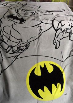 BATMAN Dc Comics Bath Towel Set x2 Gray Bathroom Bath Sheet size Used- nice!