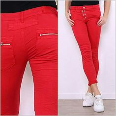 Melly & Co Red Stretch Jeans