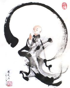 pure hearted little zen monk by 权迎升 禅画:佛门小和尚
