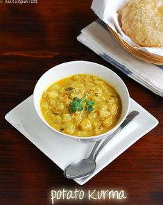 Potato kurma/ korma recipe that can be a perfect side dish for your pilaf/ pulao biryani or puri/ roti/ chapati. Kurma Recipe, Vegetarian Gravy, Vegetarian Recipes, Cooking Recipes, Indian Food Recipes, Asian Recipes, Ethnic Recipes, Hindu Food, Sauces