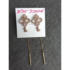 NWT Betsey Johnson Pave Key Linear Chain Earrings A gorgeous pair of eye catching earrings by Betsey Johnson! Beautiful milky stones in a pave setting on these ornate key earrings have a linear dangle attached to the backing! Perfect condition, never worn! Betsey Johnson Jewelry Earrings