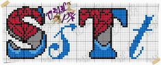 Monogram Letters, Letters And Numbers, Bead Loom Patterns, Stitch Patterns, Marvel Cross Stitch, Spiderman, Plastic Canvas Letters, Crochet Letters, Cross Stitch Letters