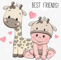 вектор жираф детей, жираф, дети, мультфильм детей PNG и вектор
