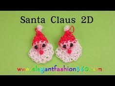 2D SANTA FACE Charm - hook only. Designed and loomed by ElegantFashion360. Click photo for YouTube tutorial. 10/29/14.