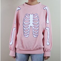 Skeleton Halloween sweater (pastel pink) (£17) ❤ liked on Polyvore featuring tops, sweaters, shirts, pink, pastel goth, pastel shirts, skeleton shirt, pink shirts, goth sweater and goth shirts