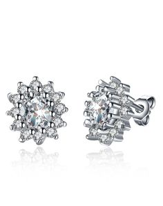 #AdoreWe #VIPme Earrings - Rich Long Silver Gold Plated Fireworks Rhinestone Stud Earrings - AdoreWe.com