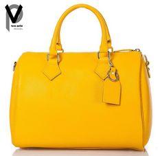 VERA PELLE Schultertasche 34cm Leder Handtasche Henkeltasche Gelb Creme Apropos