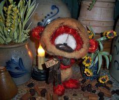 "Primitive Mohair Teddy Panda 7"" Doll Vtg Patti's Ratties Cub Artist Bear OOAK"