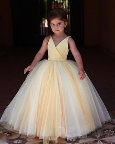 564ac655bf6 Yellow V Neck Sleeveless Flower Girl Dresses A Line Tulle Little Girl  Dresses EVERISA is top
