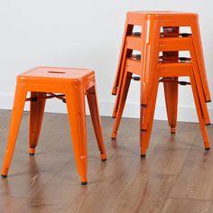 Stockwell Orange Iron Chairs (Set of 4)