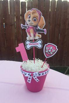 Items similar to Pink dog centerpiece on Etsy Girl Paw Patrol Party, Sky Paw Patrol, Paw Patrol Birthday Girl, Paw Patrol Cake, Paw Patrol Party Decorations, Paw Patrol Centerpieces, Birthday Centerpieces, 3rd Birthday Parties, Birthdays