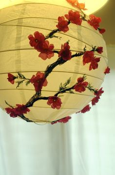 IKEA Hackers: The cherry blossom lantern adding paint and paper flowers Ikea Paper Lantern, Paper Lanterns, Lantern Diy, Fairy Lanterns, Red Lantern, Ikea Hackers, Diy Design, Flower Lamp, Diy Flower