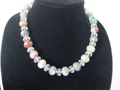 Fancy Jasper gem stone and crystal necklace with by MDJewelCraft, $40.00
