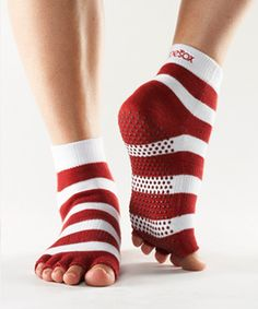 Look what I found on Red & White Stripe Half-Toe Organic Gripper Ankle Socks by ToeSox Pilates Socks, Yoga Socks, Barre Socks, Athletic Socks, Athletic Women, Grip Socks, Socks And Sandals, Fitness Gifts, Yoga Wear