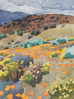 May Flowers at Tejon Ranch by Carolyn Lord, Watercolor, 15 x 11 Art And Illustration, Landscape Art, Landscape Paintings, California Art, Guache, Southwest Art, Art For Art Sake, Art Club, Art Techniques