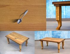 painted coffee table SPOON from massive oak, 35 x 48 x 90 cm, #coffeetable #paintedfurniture  #table #wood #woodworking #original #design #cupakdesign #konferenční stůl z masivu #dubový stůl #konferenční stůl #masivní dub #dubový Coffee Table Design, Coffee Tables, Carving, The Originals, Kitchen, Furniture, Home Decor, Cooking, Decoration Home